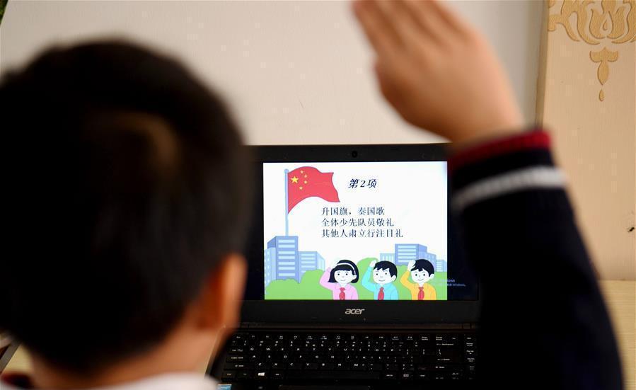 石家莊:小學生網上參加升旗儀式